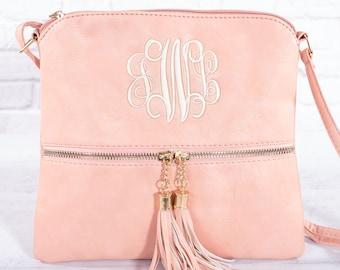 15232f91d Monogrammed Tassel Crossbody Bags | 10 Colors | Monogrammed Crossbody Bag | Monogrammed  Tassel Handbag | Monogrammed Purse