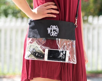 Monogrammed Clear Stadium Bags | Team Color Game Day Bag | Clear GameDay Bag | Concert Bag | Airport Security Bag | Clear Cosmetic Bag