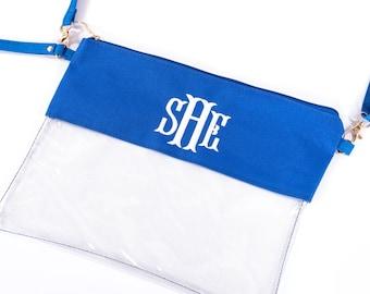 Monogram Clear Stadium Bags | Personalized Bag for Gameday | 8 Crossbody Bag Colors