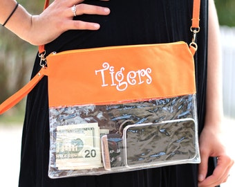 Custom Sorority Clear Stadium Cross Body Bag  University Game Day Purse  Personalized College Slogan Clutch  Big Little Gift