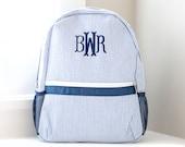 Personalized Kids Backpack Monogrammed Backpack Seersucker Diaper Bag Personalized Gifts for Kids Boys School Bag Boys Book Bag