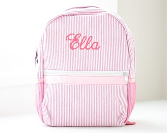 customizable birthday gift nursery or kindergarten backpack in linen and old cotton pink and gold