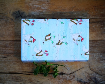 Christmas Wrapping Paper Skating Swans 2 sheets