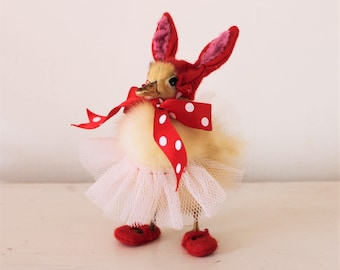 Anthropomorphic Taxidermy Duckling. Little Ducky dressed in net skirt and bunny ears