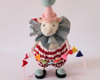 Anthropomorphic Taxidermy Rat. Clown Ratty.