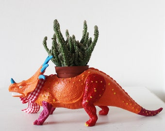 Hand Painted Dinosaur Planter, Desk Tidy