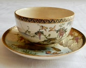 Satsuma Cup and Saucer - Vintage or Antique Japanese Cup and Saucer - Satsuma with Birds, Ducks, and Wisteria - Old Satsuma Porcelain Japan