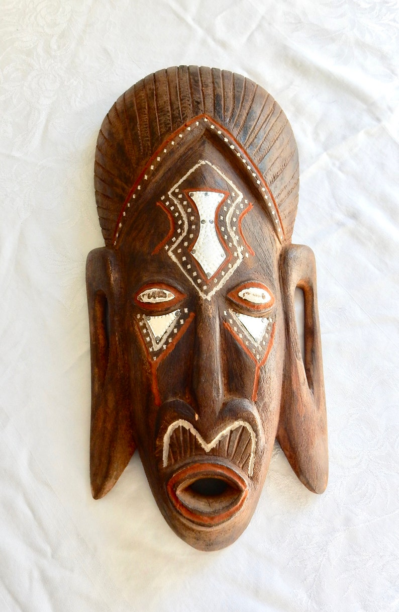 Hand Carved Mask Attributed to Akan Tribe Ghana Carved Wood Face Mask African Carved Wood Mask Tribal Mask from Africa African Mask