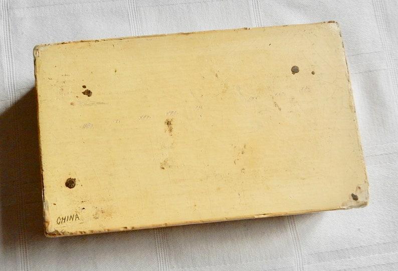 Vintage Tan Chinese Box Chinese Jewelry Box Lacquer Vintage Trinket Box China Cream Lacquer Box from China Chinese Lacquer Box