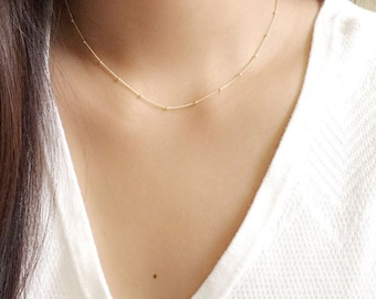 Dainty beaded necklace • satellite necklace • simple layering necklace • gold station necklace