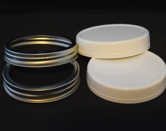 Set of 2 canning jar rings (rims, bands) + 2 solid caps