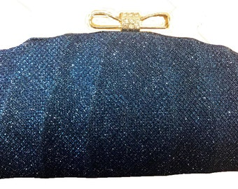 New Navy Body With Navy Blue Crystal Hard Shell Evening Clutch bag