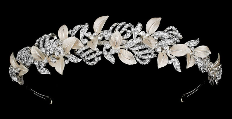 New Bridal Gorgeous Floral Vine With Pearls /& CZ Crystal Rhinestone Hair Band