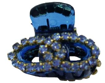 New Aqua Double C Crystal  3/4'  Hair Claw Clip