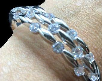 New Silver Crystal Bangle Bracelet
