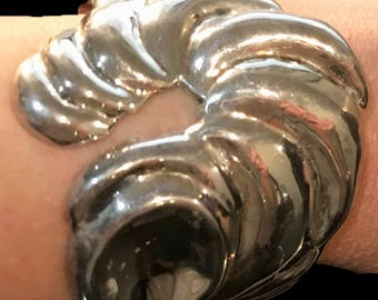Estate Stunning Vintage Solid Sterling Silver Abstract Swirl Cuff Bracelet