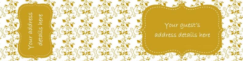 Envelope wraps lace damask gold wraparound address labels personalised labels invitations wedding engagement bridal shower baby shower