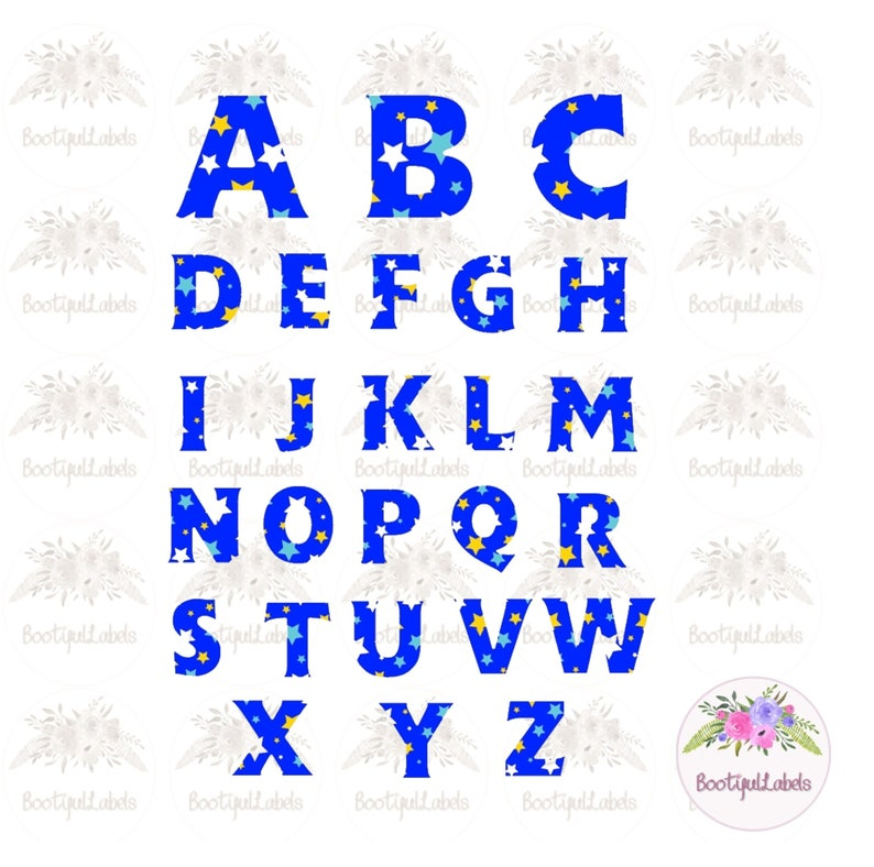 Digital download clipart alphabet bright stars blue A to Z upper case  letters colourful letters png jpg clipart capital letters