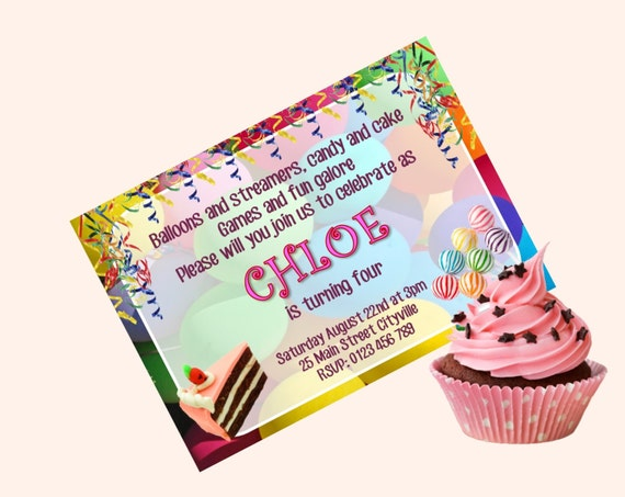 birthday party invitation diy printable balloons and streamers etsy