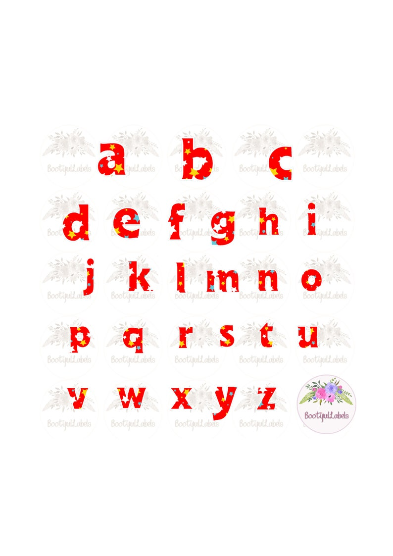 Digital download clipart alphabet bright stars red A to Z lower case  letters colourful letters png jpg clipart alphabet letters