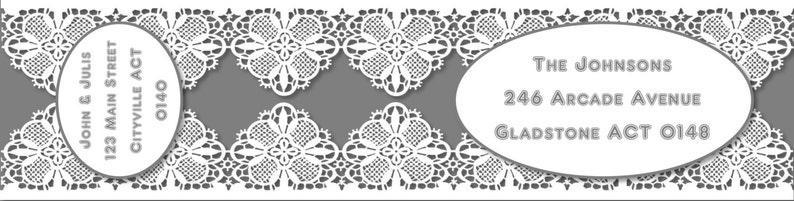 charcoal lace Envelope wraps wraparound address labels personalised labels invitations wedding engagement bridal shower baby shower