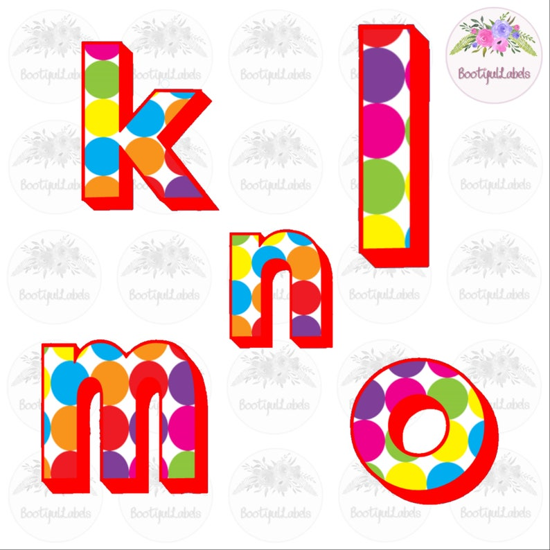 Digital download clipart alphabet bright colourful polka dots A to Z lower case letters rainbow letters png jpg clipart lower case letters