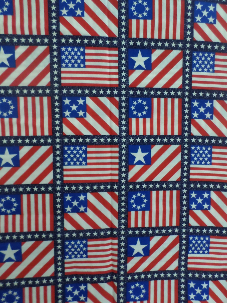 70a56407419 United States American Flag Fabric red white and blue vintage