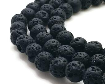 8mm Natural Black Lava Beads 47 Beads 8mm Lava 8mm Black Lava 8mm Black Beads 8mm Volcanic Rock Volcanic