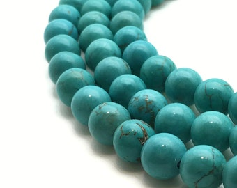 """Round Natural Turquoise Beads 4∼10mm Strand 15.5""""-38cm Beads Turquoise Stone Turquoise Gemstone Turquoise Mala Turquoise Round Turquoise"""