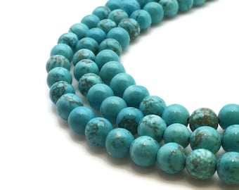 6mm Natural Turquoise Beads 61 Beads 6mm Turquoise 6mm Turquoise Beads 6mm Blue Beads 6mm Turquoise Round Turquoise Blue Round Blue