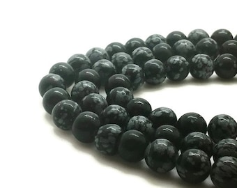 10mm Natural Snowflake Obsidian Beads Round 10mm Snowflake 10mm Obsidian 10mm Bead Obsidian Gemstone Obsidian 10mm Bead 10mm Round Bead 10mm