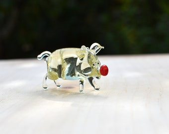 Cute tiny glass pig unique gift. Whimsical figurine with a lot of character and personality Excellent addition to your glass collection