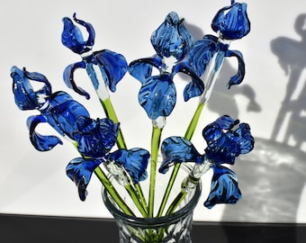 unique gift. Excellent addition to your glass collection Beautiful extra long blue glass Iris flower