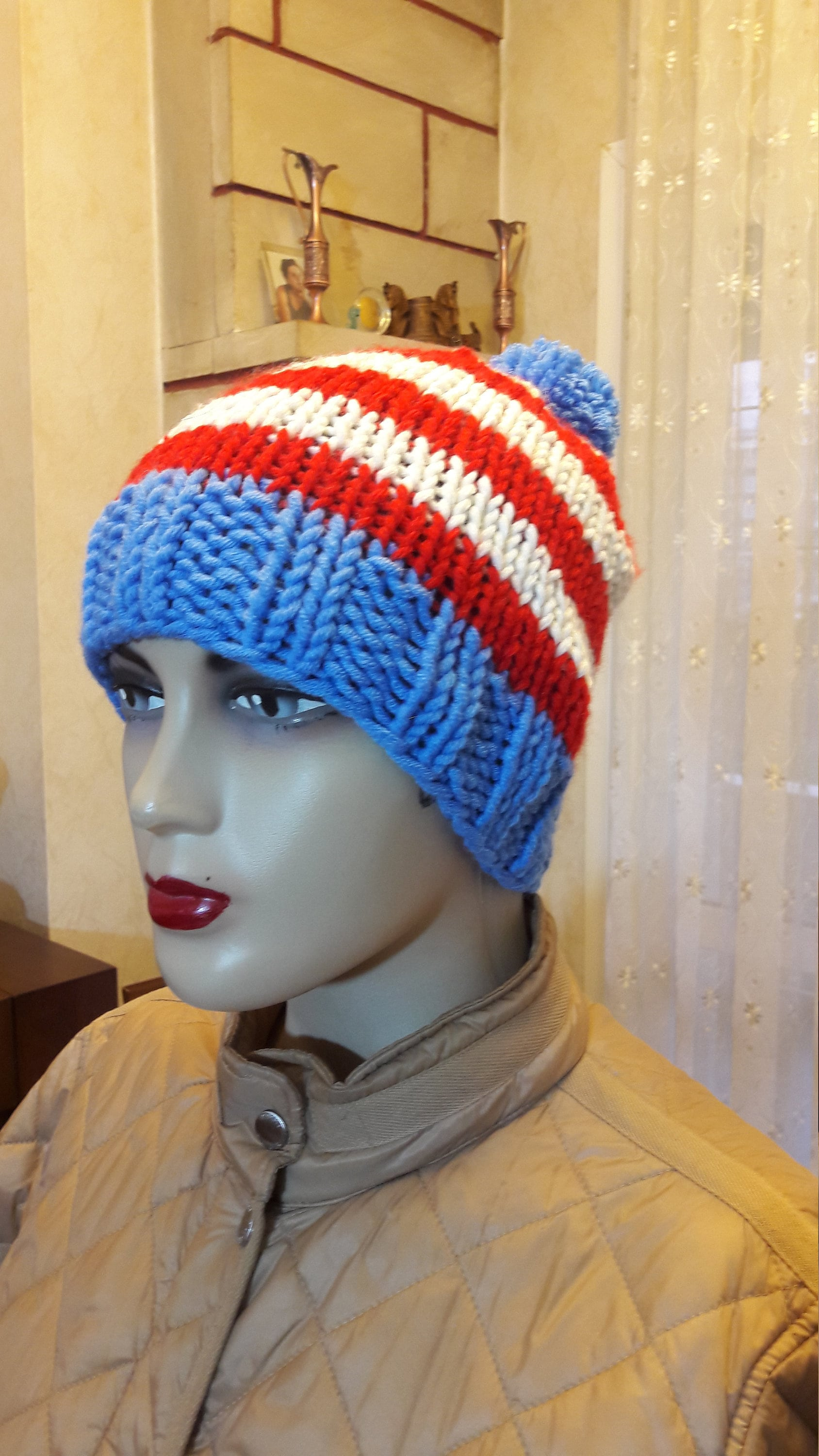 d2bc7f468 Blue red white striped beanie Multicolor slouchy wool beanie, Winter Hat  hand knit wool beanie Unisex hat, hand knit wool beanie gift for