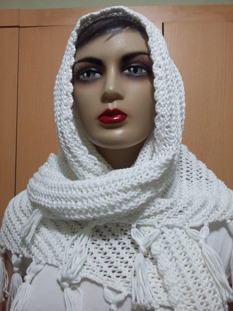 43fe7f0fed6b White shawl Bridal Shawl wedding bolero shawlCrochet Tread   Etsy