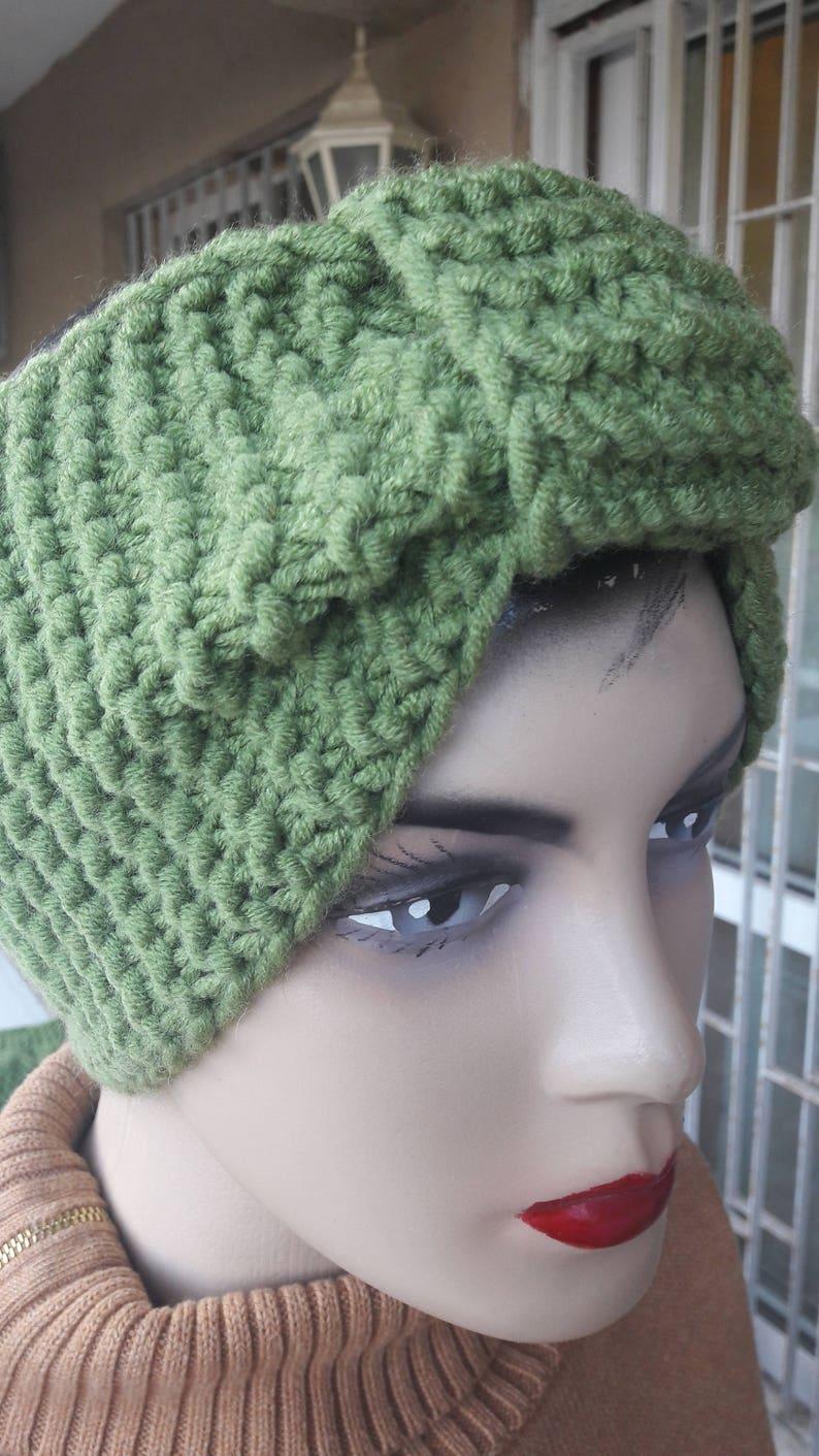 Ear Warmers wool headbands -pear green Knit Headband Light green green Knit Headband green knit headband wool bandana Earmuffs