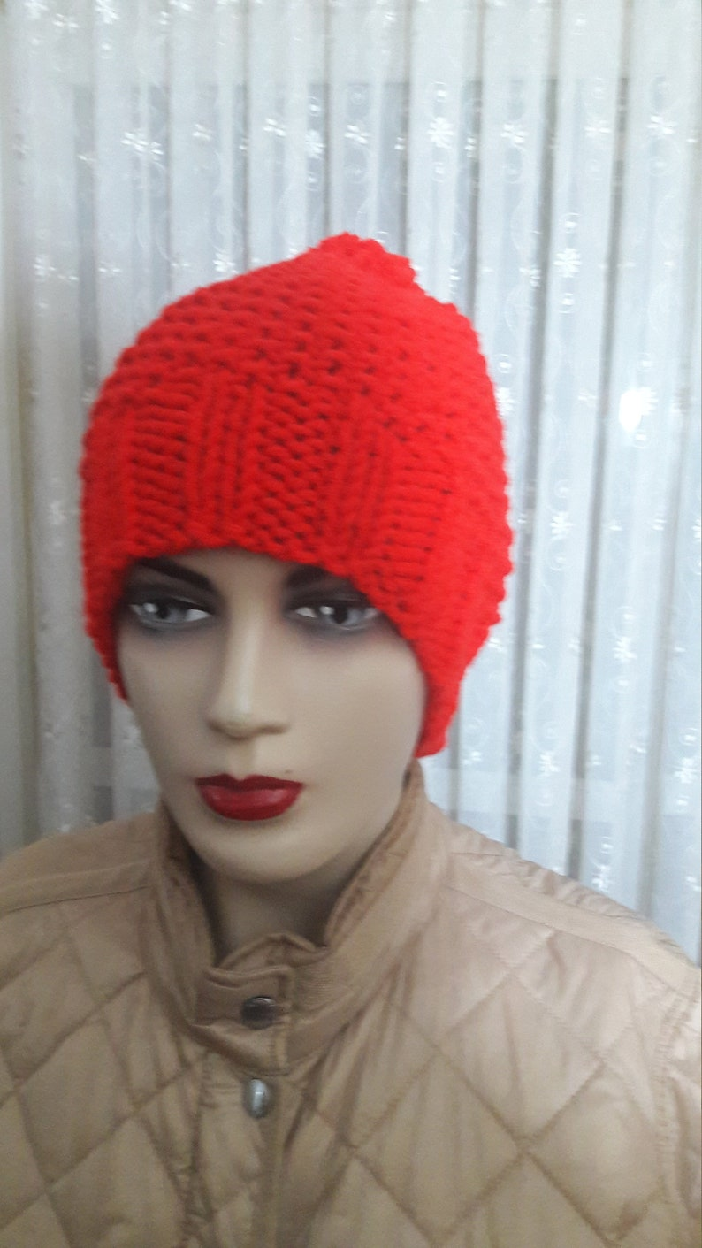 052609ab42f Hand Knit Beanie Red Beanie Hat Knit Womens Winter Hat with