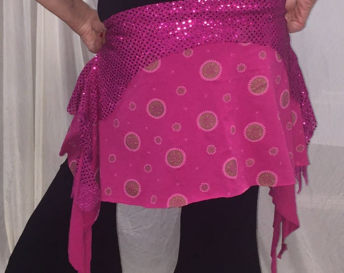 Featured listing image: Bellydance skirt, tribal fusion overskirt in hot pinks. Size XXL