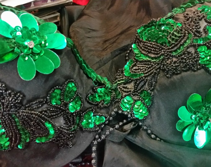 Featured listing image: Belly dance skirt and bra top. Black taffeta w/green appliques