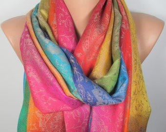 Mother's Day Gift Pashmina Rainbow Scarf Oversized Shawl Spring Winter Scarf Women Accessories Gift For Her For Women Gift For Mom
