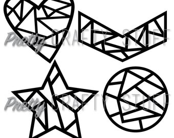 Cut file - Geometric shapes SVG and PNG file for electronic die cut machines, heart, star, circle and chevron