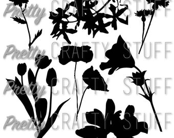 Cut file - Flower silhouettes in SVG and PNG formats for your digital die cutting machine (Magnolia, tulips, poppies and more)