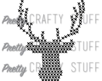 Cut file - Big Cross Stitch Deer Head SVG and PNG file for electronic die cut machines