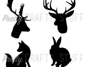 Cut file - Animal silhouettes in SVG and PNG formats for your digital die cutting machine (reindeer, stag/deer, fox and rabbit)