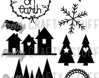 Cut file - Peace on earth christmas themed SVG and PNG file for electronic die cut machines