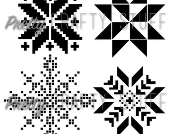 Cut file - Nordic Stars SVG and PNG file for electronic die cut machines, four different designs