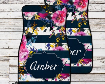 Personalized Car Mat, Floral Monogrammed Car Mats, Custom Car Accessories, Monogram Car Mat, Car Floor Mat, Monogram Car, Car Mat, Floor Mat