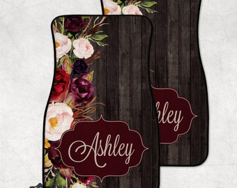 Personalized Car Mats, Floral Monogrammed Car Mat, Custom Car Accessories, Monogram Car Mat, Car Floor Mat, Monogram Car, Wood Grain Pattern