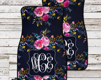 Custom Car Mats, Monogram Car Mats, Floral Car Mat, Personalized Car Mats, Watercolor Flowers, Custom Car Accessories, Monogram Floor Mats