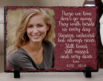 Memorial Photo Gift, In Loving Memory, Those We Love Don't Go Away They Walk Beside Us Every Day, Sympathy Gift, Photo Slate Memorial Plaque